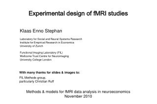 Experimental design of fMRI studies