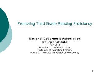 Promoting Third Grade Reading Proficiency