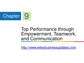 Top Performance through Empowerment, Teamwork, and Communication http://www.wileybusinessupdates.com