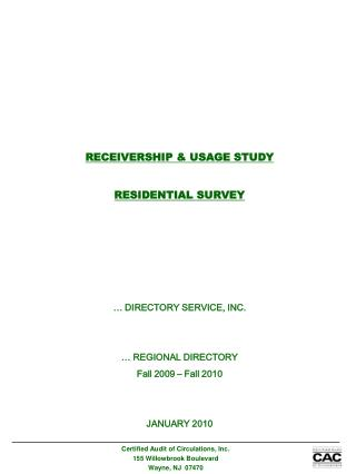 RECEIVERSHIP & USAGE STUDY RESIDENTIAL SURVEY … DIRECTORY SERVICE, INC. … REGIONAL DIRECTORY