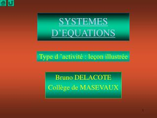 SYSTEMES D'EQUATIONS