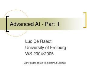 Advanced AI - Part II