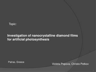Investigation of nanocrystalline diamond films for artificial photosynthesis
