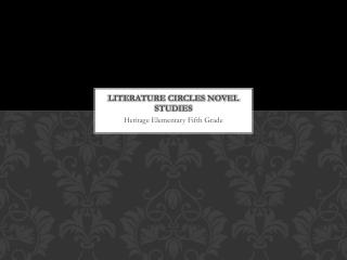 Literature circles novel studies
