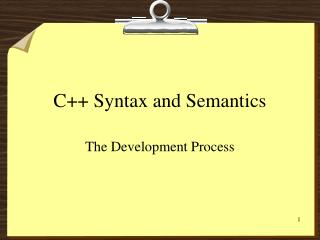 C++ Syntax and Semantics