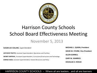 Harrison County Schools School Board Effectiveness Meeting
