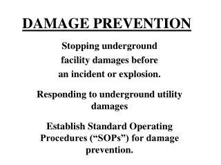 DAMAGE PREVENTION