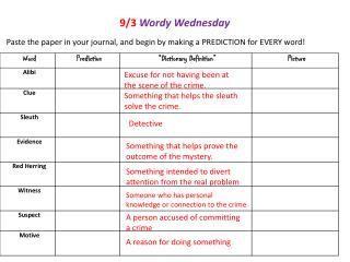 9/3 Wordy Wednesday