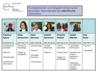 Kontaktpersonen und Aufgabenverteilung der derzeitigen Stammgruppe des  elternforums  Obermeilen