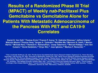 Results of a Randomized Phase III Trial (MPACT) of Weekly  nab -Paclitaxel Plus