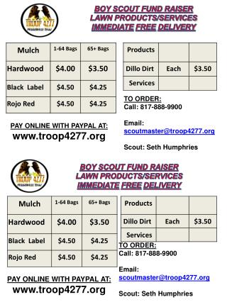 BOY SCOUT FUND RAISER LAWN PRODUCTS/SERVICES IMMEDIATE FREE DELIVERY