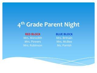 4 th Grade Parent Night