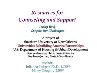 A project of Southern University at New Orleans Universities Rebuilding America Partnerships