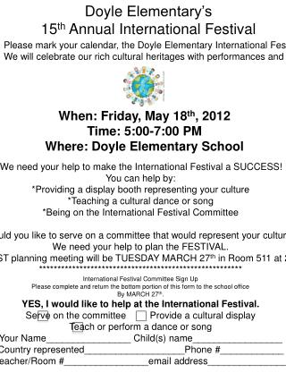 Doyle  Elementary's 15 th  Annual International Festival