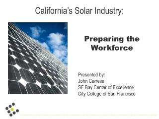 California's Solar Industry: