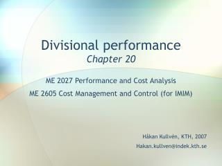 Divisional performance Chapter 20