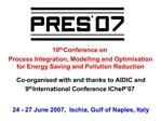 10th Conference on  Process Integration, Modelling and Optimisation for Energy Saving and Pollution Reduction