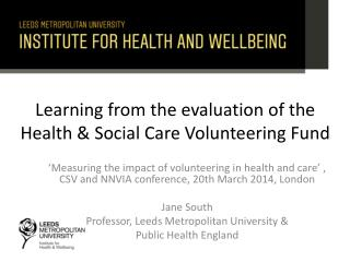 Learning from the evaluation of the Health & Social Care Volunteering Fund