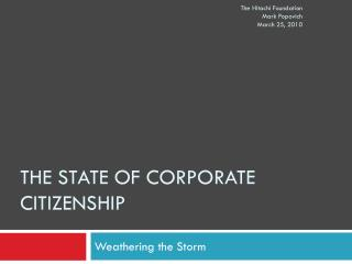 The state of corporate Citizenship