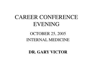 CAREER CONFERENCE EVENING