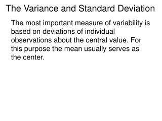 The Variance and Standard Deviation