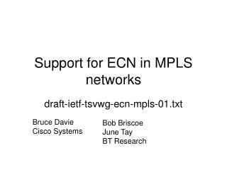 Support for ECN in MPLS networks