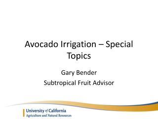 Avocado Irrigation – Special Topics