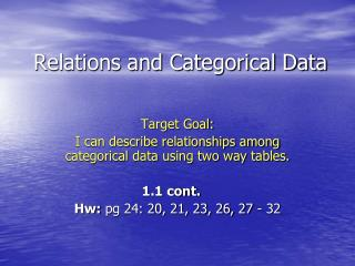 Relations and Categorical Data