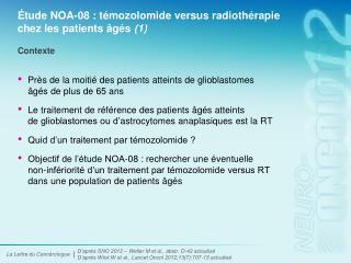 Étude NOA-08 : témozolomide versus radiothérapie chez les patients âgés (1)