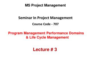 Seminar In Project Management Course Code - 707