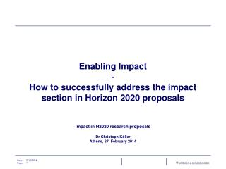 Enabling Impact - How to successfully address the impact section in Horizon 2020 proposals
