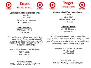 Target Hiring Event: Opening's In All Positions Including: Cashier Sales floor