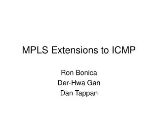MPLS Extensions to ICMP