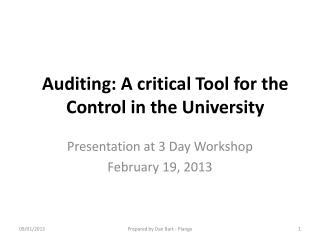 Auditing: A critical Tool for the Control in the University