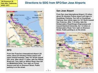 Directions to SDG from SFO/San Jose Airports