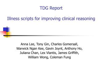 TDG Report Illness scripts for improving clinical reasoning
