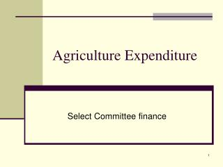 Agriculture Expenditure