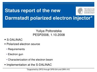 Status report of the new Darmstadt polarized electron injector*
