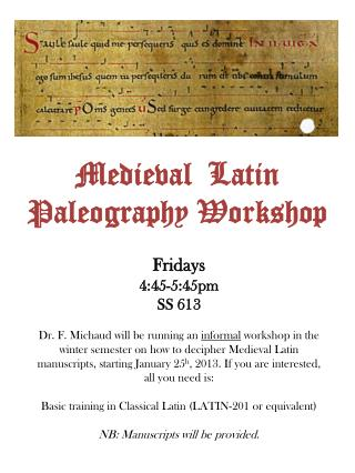 Medieval Latin Paleography Workshop