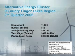 Alternative Energy Cluster 9-County Finger Lakes Region 2 nd Quarter 2006