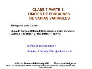 CLASE 7 PARTE 1: LÍMITES DE FUNCIONES DE VARIAS VARIABLES