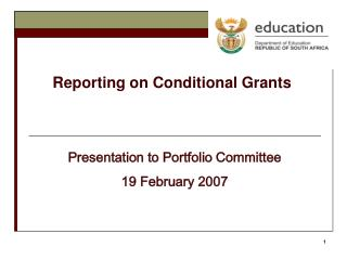 Reporting on Conditional Grants