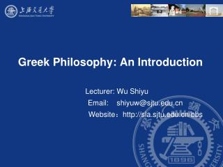 Greek Philosophy: An Introduction