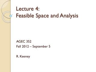 Lecture 4:  Feasible Space and Analysis