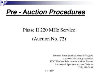 Pre - Auction Procedures