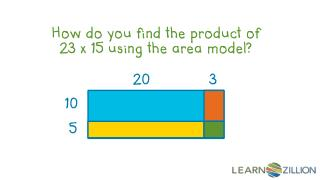 How do you find the product of 23 x 15 using the area model?