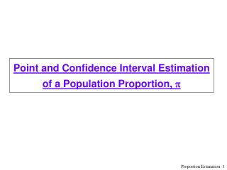 Point and Confidence Interval Estimation of a Population Proportion, p