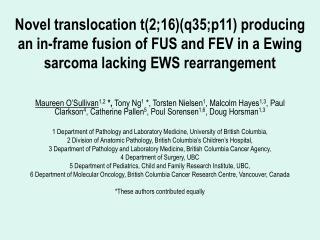 Molecular Pathology of Ewing Family Tumours