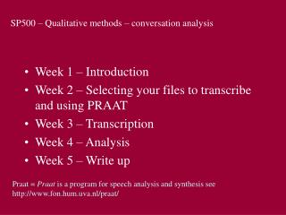 SP500 – Qualitative methods – conversation analysis