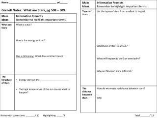 Name: ____________________________________ pd______ Cornell Notes: What are Stars, pg 508 – 509